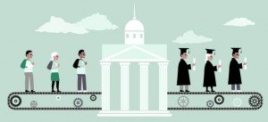 Higher education machine - digital graphic