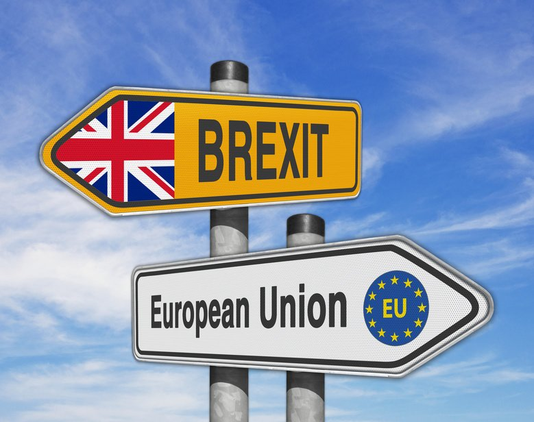 Road signs EU and BREXIT