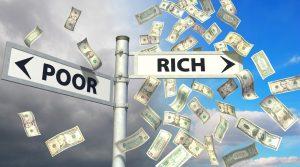 Street sign with money raining down