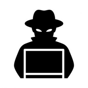 Black hat hacker icon