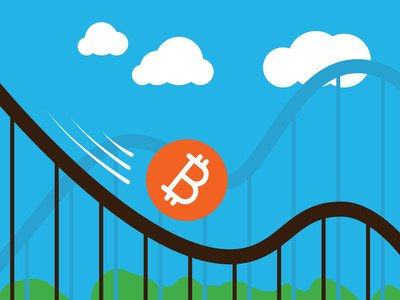 graphic of bitcoin on a rollercoaster