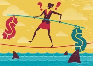 Businesswoman walks the Financial Tightrope