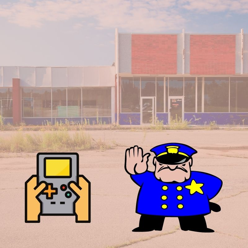 Game icon and Policeman holding his hand out to stop traffic in the foreground. Abandoned strip mall in the background photo.
